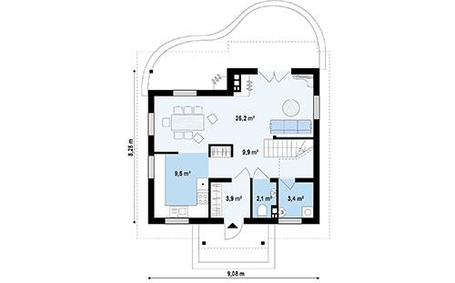 Дом из SIP-панелей #1015-проект 1