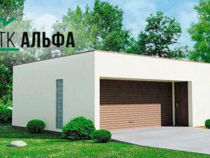Проект гаража в стиле хай-тек для двух машин из СИП панели №G001