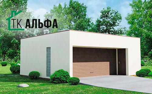 Проект гаража в стиле хай-тек для двух машин из СИП панели 001