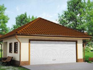 Современный проект просторного гаража для двух авто №G002